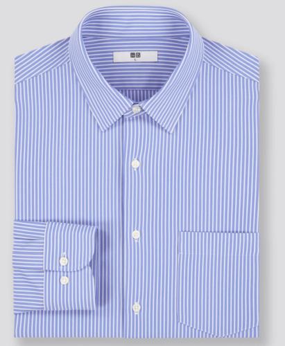 ファインクロスコンフォートストライプシャツ(レギュラーカラー・長袖)